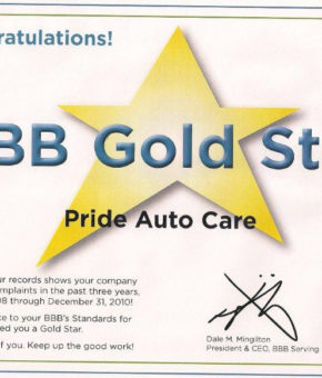 bbb gold star certificate 2011 better business bureau award Pride Auto Care Denver Parker Centennial Highlands Ranch